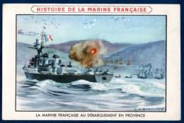 Chromo Pub Cirage Lion Noir : Histoire De La Marine Française, Le Débarquement En Provence. - Trade Cards