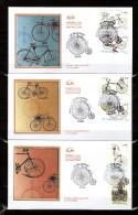 """FRANCE 2011 : 3 Enveloppes 1er Jour """" LE VELOCIPEDE """". N° YT 4550 à 4555 . Parfait état. FDC"""