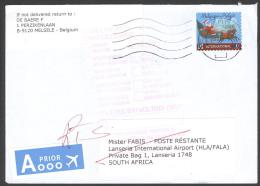 2011 RETURN TO SENDER - RETOUR - ENVELOPPE VAN BELGIE TO SOUTH AFRICA WITH RED UNDELIVERED STAMP FROM SOUTH AFRICA POST - Belgium