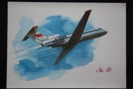 Yak-40 PASSENGER PLANE. Old USSR Postcard - 1946-....: Moderne