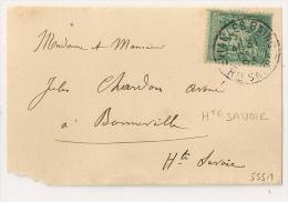 Période Jour De L' An, Evian Les Bains, Haute Savoie Sur Devant Au Type SAGE. 31 Dec 1893. - 1877-1920: Periodo Semi Moderno