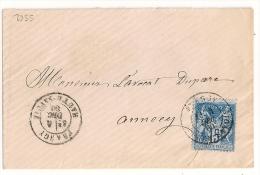 FRANGY Haute Savoie Sur Enveloppe Au Type SAGE. - 1876-1898 Sage (Type II)