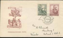 DV13-131 CZECHOSLOVAKIA 1949 FDC YV 517-518 CHILDREN, KINDEREN, ENANTS. - FDC