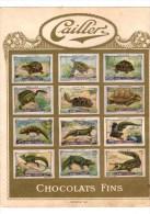 12 Vignettes / Timbres Publicitaires Pour Chocolat Cailler, Suisse, 1935, Reptiles, Dinosaures (?), Tortues - Erinofilia