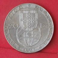PORTUGAL  20  ESCUDOS  1953  21GRS - 0,800 SILVER KM# 585  -    (Nº12184) - Portugal