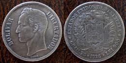 (J) VENEZUELA: Silver 5  Bolivares 1926 VF+ (1612)   ¡¡¡¡¡ SPECIAL !!!! - Venezuela