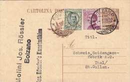 ITALIEN 1928 - 2 Fach Ganzsache Mit Zusatzfr.auf Pk Von Bolzano Nach Thal/St.Gallen - Ganzsachen