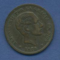 Spanien 5 Centimos 1878 OM Alfonso XII. KM 674 (m1056) - [ 1] …-1931 : Reino