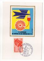 1972-Carte Maximum Soie-20°anniv Donneurs De Sang PTT (coeur)-signée Chesnot--cachet  NANTES--44 - Cartes-Maximum