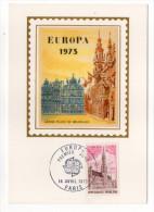 1973--Carte Maximum Soie--EUROPA--Grand Place De BRUXELLES--signée Chesnot--cachet  PARIS--75 - Cartes-Maximum
