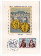 1973--Carte Maximum Soie--Préparation Du Code Civil-Napoléon 1er--signée Chesnot--cachet PARIS--75 - Cartes-Maximum