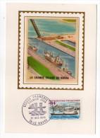 1973-Carte Maximum Soie-Port Du HAVRE-76-La Grande écluse François 1er---signée Chesnot-cachet LE HAVRE-76 - Cartes-Maximum