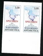 Antarctica Post Ross Dependency Imperf Specimen Overprint Pair - New Zealand