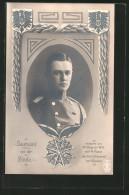 """Foto-AK Portrait Von Leutnant Von Der Linde In Uniform, Eroberer Des Fort """"Malonne"""" Vor Namur, Orden Pour Le Merite - War 1914-18"""