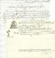 """12 Déc. 1808 - Connaissement - Tartane """"Le St Antoine"""" - Lettre D´accompagnement - Documentos Históricos"""