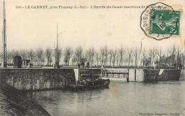 Cpa 44 Le Carnet Par Frossay, Entrée Du Canal Maritime De La Basse Loire, Remorqueur..., Affranchie Ambulant 1909 - Frossay