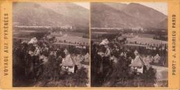 VUE DE LUCHON 10 PRISE DE MONTAUBAN VOYAGE AUX PYRENEES PHOTO STEREOSCOPIQUE ANCIENNE PHOT J ANDRIEU PARIS - Stereoscopio