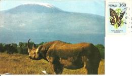 KENYA  KENIA  Rhinoceros Rinoceronte  Kilimanjaro  Nice Stamp  Butterly Theme - Kenia
