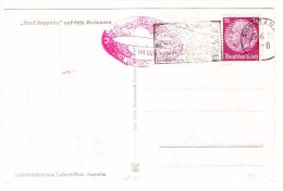 """Zeppelin Stempeln Auf AK 19.6.1938 Konstanz Nach Meilen Mit Motiv """"Graf Zeppelin"""" Auf Dem Bodensee - Poste Aérienne"""