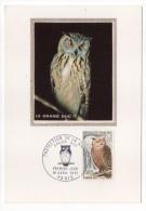 1972--Carte Maximum--Oiseau--Le GRAND DUC (hibou-chouette)-cachet  PARIS--75 - Cartes-Maximum
