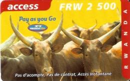 TARJETA DE RUANDA DE ACCESS DE 2500 FRW CADUCIDAD 03-2004 (RWANDA) TORO-BULL