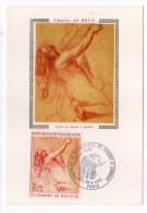 """1973--Carte Maximum--Ch LE BRUN--tableau""""Etude De Femme à Genoux""""-Nu  -cachet  PARIS--75 - Cartes-Maximum"""