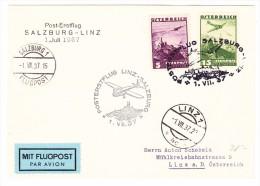 Österreich Post-Erstflug Salzburg-Linz 1.7.1937 Auf Karte Nach Linz - Luftpost