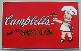 PLAQUE TOLE EMAILLEE CAMPBELL'S CONDENSED SOUPS 1993 TRADEMARKS LICENSED BY CAMPBELL SOUP COMPAGNY - Cartelli Pubblicitari