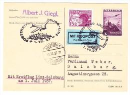 Österreich Post-Erstflug Linz-Salzburg 1.7.1937 Auf Karte Nach Salzburg - Luftpost