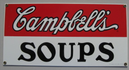 PLAQUE TOLE EMAILLEE CAMPBELL´S SOUPS 1993 TRADEMARKS LICENSED BY CAMPBELL SOUP COMPAGNY - Advertising (Porcelain) Signs