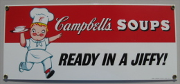 PLAQUE TOLE EMAILLEE CAMPBELL´S SOUPS READY IN A JIFFY 1994 TRADEMARKS LICENSED BY CAMPBELL SOUP CO - Advertising (Porcelain) Signs
