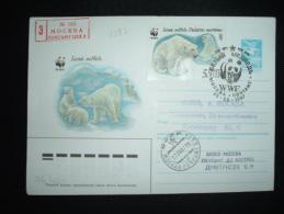 LETTRE ENTIER 5K + TP OURS BLANC 5K OBL. 25 03 1987 WWF MOCKBA - Preservar Las Regiones Polares Y Glaciares