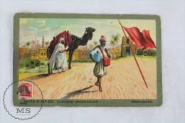 Rare 1900´s Trading Card/ Chromo - Morocco Flag & Universal Postal Service - Chocolate
