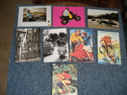 Lot De  8  Cartes Postales Sur Le Theme Des Scooter Vespas,dont Une Solex - Cartes Postales