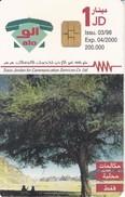 TARJETA DE JORDANIA DE 1JD DE UN ARBOL-TREE  FECHA 03/98 Y TIRADA 200000 - Jordania