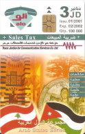 TARJETA DE JORDANIA DE 3JD DE LAS BANDERAS DE JORDANIA Y LIBANO - LIBAN-FLAG  FECHA 01/2001 Y TIRADA 100000