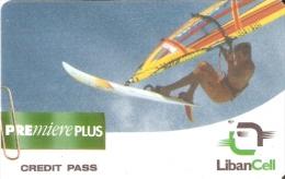 TARJETA DE LIBANO DE UN CHICO CON UNA VELA SURF (LIBANCELL) - Líbano