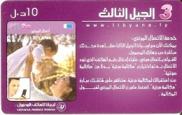 TARJETA DE LIBIA DE UNA MADRE CON SU HIJO DE 10 UNITS (LIBYANA MOBILE) - Libye