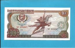 KOREA, NORTH - 10 WON - 1978 - P 20.a - UNC. - RED And BLACK Serial # - NO Seal - For General Circulation - 2 Scans - Korea, Noord