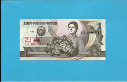 KOREA, NORTH - 1 WON - 1992 - P 39.s - UNC. - SPECIMEN - 0000819 - Low Number - 2 Scans - Korea, North