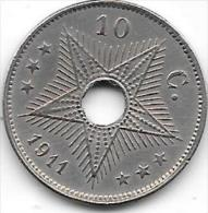 10 Centimes Albert I 1911 FR-FL   Belle Qualité+++++ - Congo (Belge) & Ruanda-Urundi