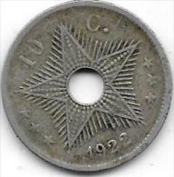 10 Centimes Albert I 1922 FR-FL - Congo (Belge) & Ruanda-Urundi
