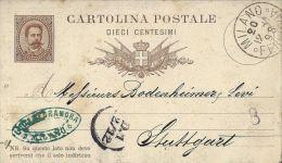 INTERO REGNO UMBERTO I 10 C. SX 1881 MILL 81 VG MILANO X STUTTGART GERMANIA - 1878-00 Umberto I