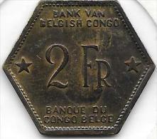 2 Francs Léopold III 1943 Congo-Belge Très Belle Qualité - Congo (Belgian) & Ruanda-Urundi