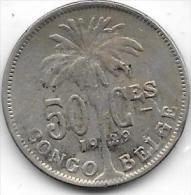 50 Centimes  Albert I  1929 FR Congo-Belge  Belle Qualité - Congo (Belge) & Ruanda-Urundi