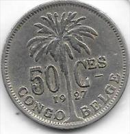 50 Centimes  Albert I  1927 FR Congo-Belge  Belle Qualité - Congo (Belge) & Ruanda-Urundi