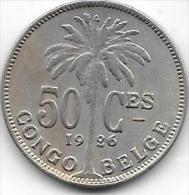 50 Centimes  Albert I  1926 FR Congo-Belge  Belle Qualité - Congo (Belge) & Ruanda-Urundi