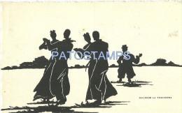12462 ART ARTE SHADOW PROFILE COSTUMES GAUCHO & PEASANT DANCER CHACARERA POSTAL POSTCARD - Fine Arts