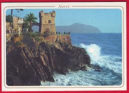 Italia Italy Postcard Riviera Ligure Nervi Torre Gropallo 1995 Circulated - Genova (Genoa)