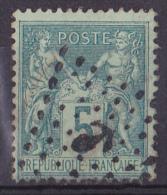 France N°75 - 5c Vert Oblitéré Ancre - TB - 1876-1898 Sage (Type II)
